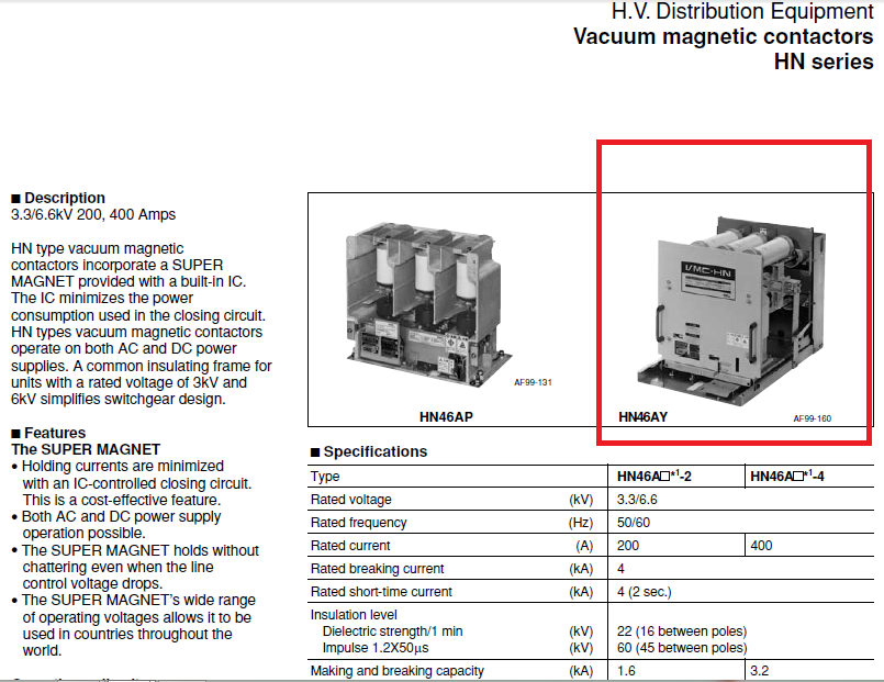 FUJI medium voltage vacuum contactor drawout type